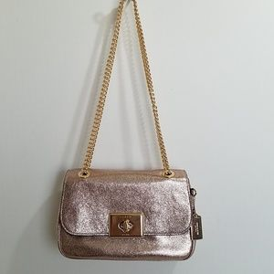 COACH Crinkle Rose Gold Leather Crossbody Bag